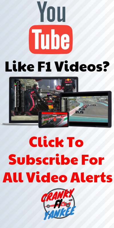 F1 News subscribe to youtube Cranky Yankee Motorsport