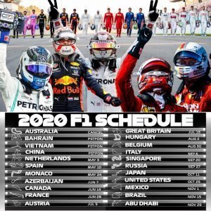 2020 F1 Schedule Printable